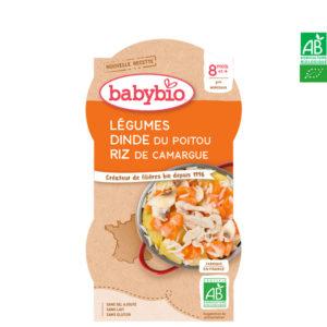 Légumes Dinde du Poitou et Riz de Camargue 2x200g Babybio