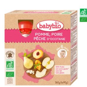 Pomme Poire Pêche du Roussillon 4x90g Babybio