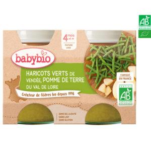 Haricots verts de Vendée Pomme de Terre du Val de Loire 2x130g Babybio