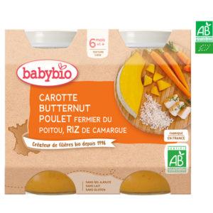 Carotte, Butternut, Poulet Fermier du Poitou, Riz de Camargue 2x200g Babybio