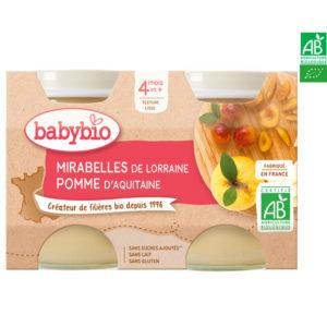 Mirabelle de Lorraine et Pomme d'Aquitaine 2x130g Babybio
