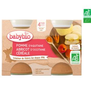 Pomme d'Aquitaine, Abricot d'Occitanie et Céréales 2x130g Babybio