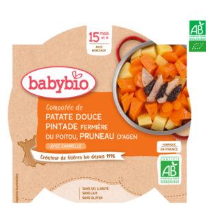 Compotée de Patate Douce Pintade Fermière du Poitou Pruneaux Cannelle 260g Babybio