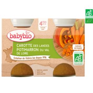 Carottes des Landes et Potimarron du Val de Loire 2x130g Babybio