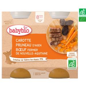 Carotte Pruneau d'Agen Bœuf Fermier Nouvelle Aquitaine 2x200g Babybio