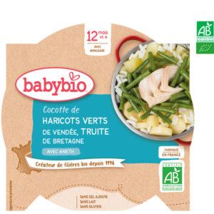 Cocotte de Haricots Verts de Vendée Truite de Bretagne à l'Aneth 230g BabyBio