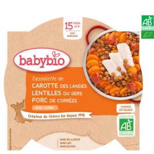 Cassolette de Carotte Lentilles et Porc de Corrèze 260g Babybio