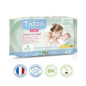 Lingettes Bébé Écologiques Parfum Naturel Compostables 1×58 Tidoo