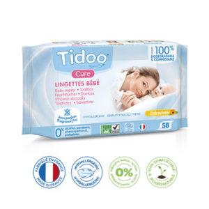 Lingettes Bébé Écologiques Sans Parfum Compostables 1×58 Tidoo