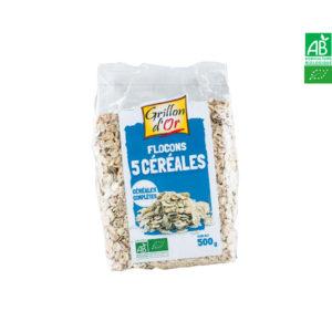 Flocons 5 céréales complètes 500gr Grillon d'Or