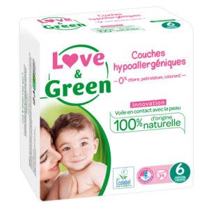 Couche Hypoallergénique Taille 6 15kg et + 1×34 Love&Green