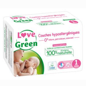 Couche Hypoallergénique Taille 1 2 à 5 kg 1x23 Love&Green