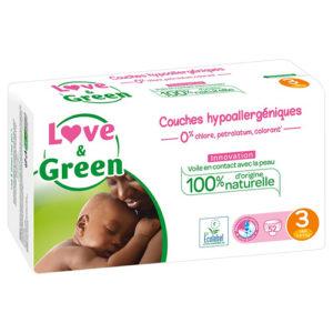 Couche Hypoallergénique Taille 3 4 à 9kg 1×52 Love&Green