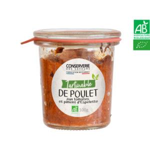 Tartinable de Poulet aux Tomates et Piment d'Espelette 100g Conserverie des Saveurs