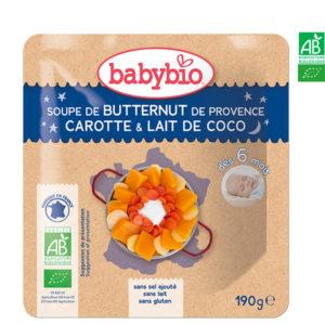Soupe de Butternut de Provence Carotte et Lait de Coco 190g Babybio