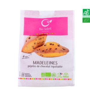 Madeleine Aux Pépites de Chocolat Équitables Bio 200g Sachet de 9 Madeleines individuelles Bio Soleil